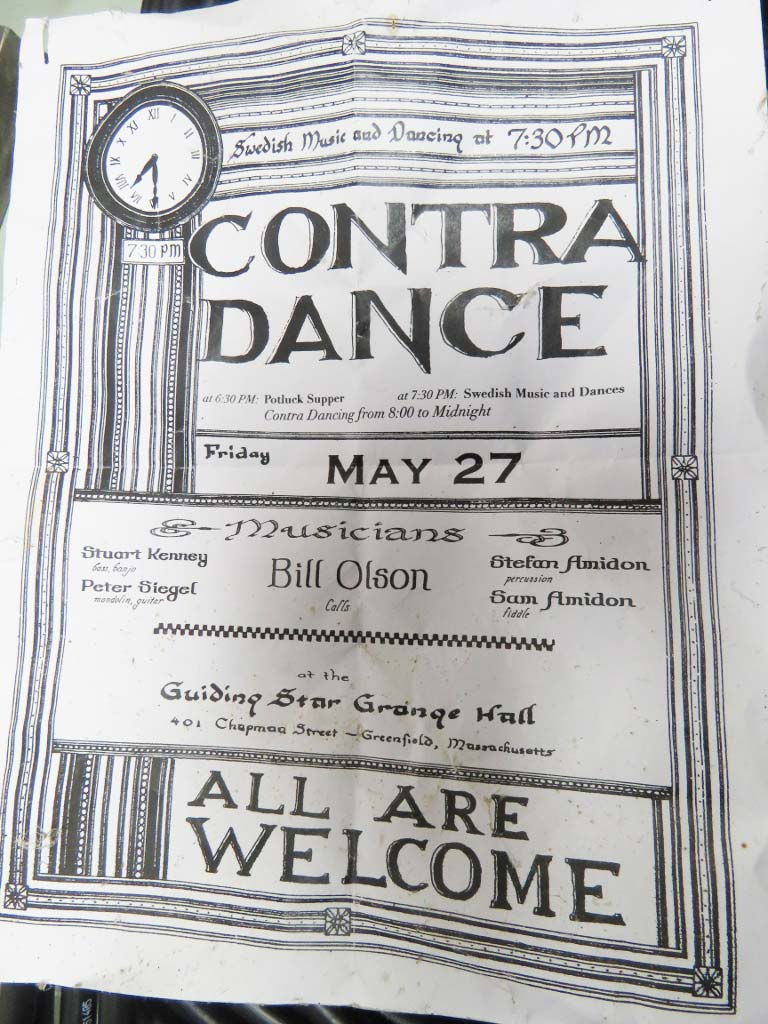 Contra dance flyer hand-calligraphed by David