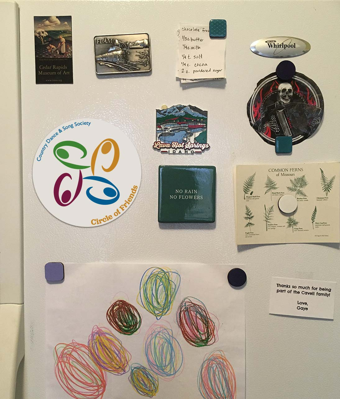 Refrigerator with Circle of Friends magnet