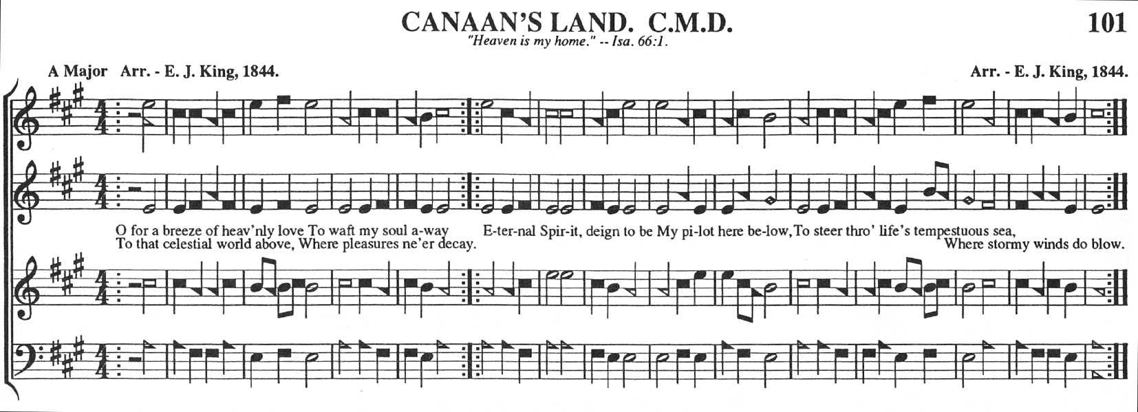 101t Canaans Land tune notation