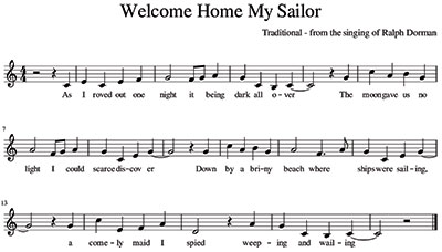 Score Welcome Home My Sailor