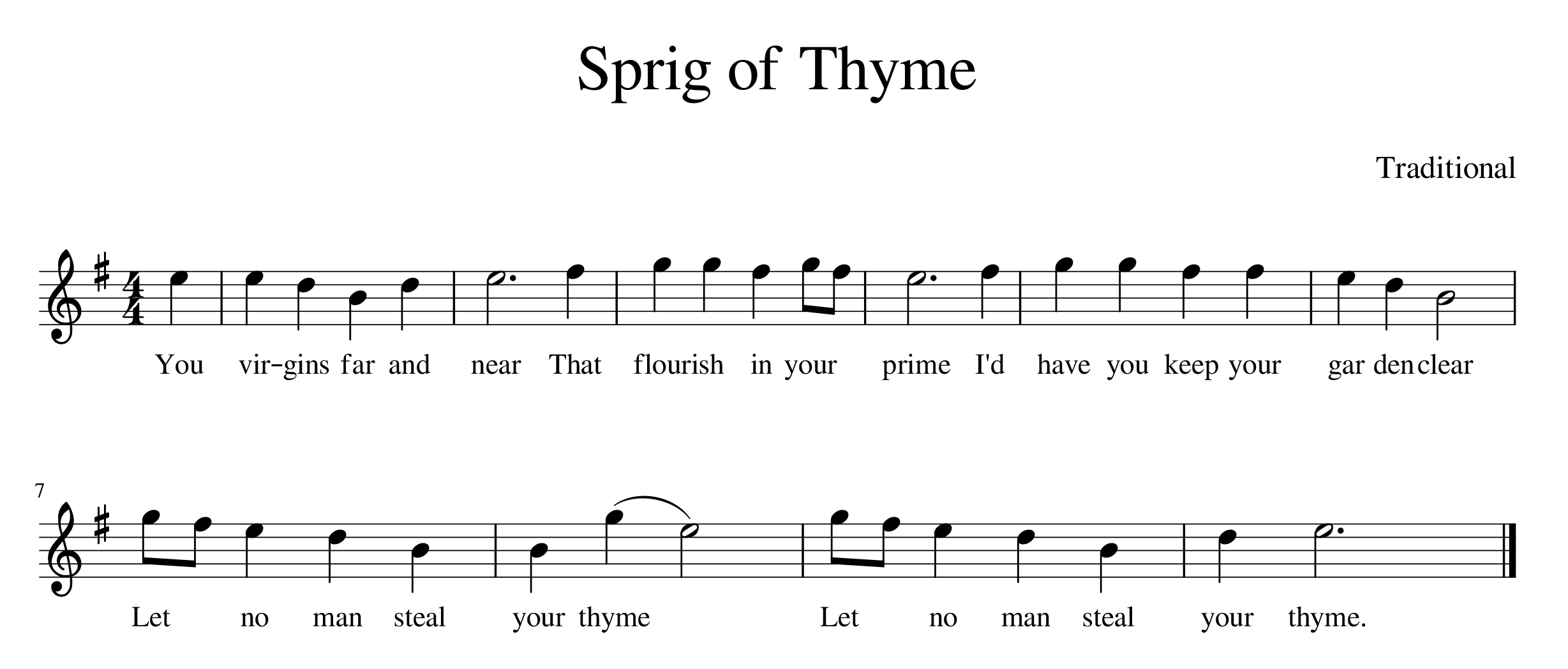 """Sprig of Thyme"" sheet music"