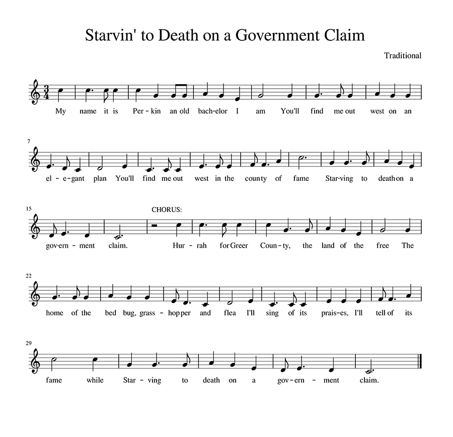 Score for Starvin' to Death on a Government Claim