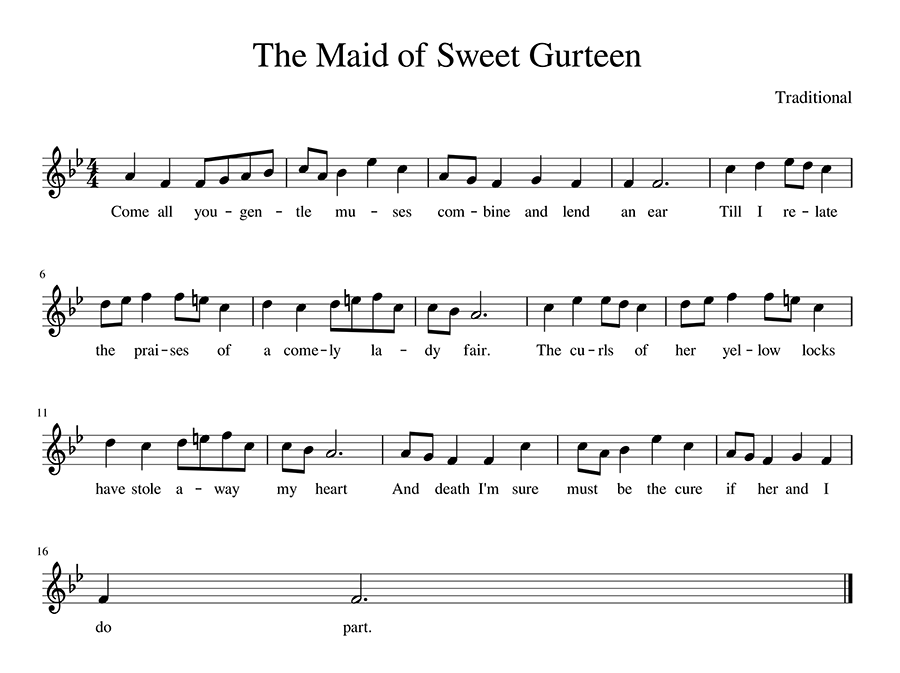 Score for The Maid of Sweet Gurteen