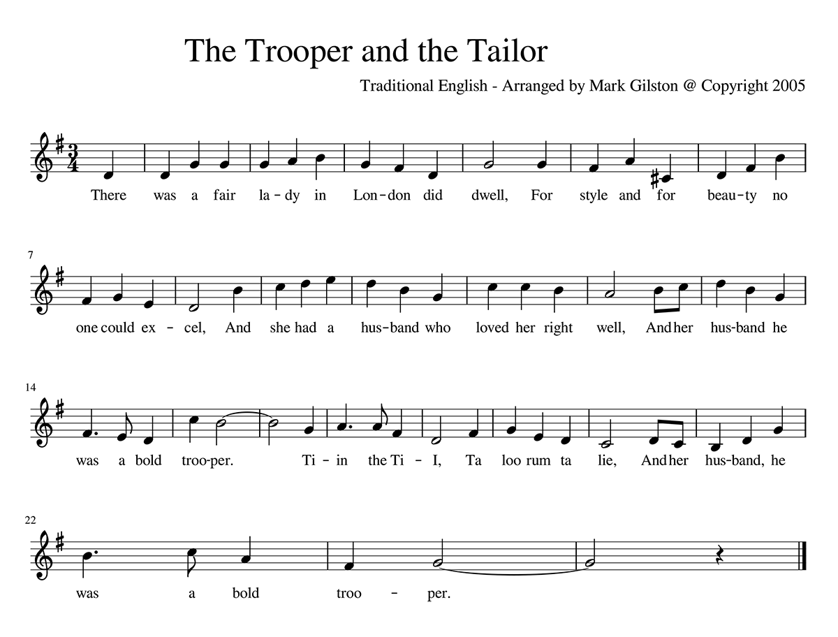 """The Trooper and the Tailor"" sheet music"