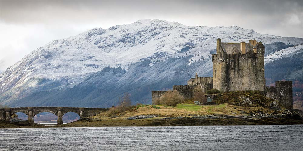 Castle and mountains in Scotland