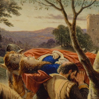 Painting of noblemen carrying the bodies of a young couple in medieval Scotland