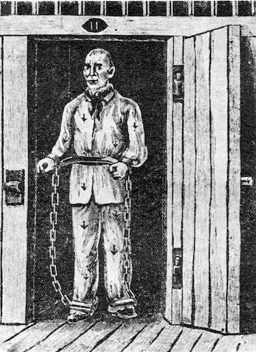 A convict in chains en route to Australia