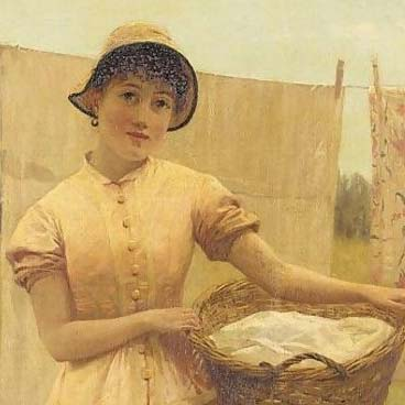 Painting of a young woman holding a basket of laundry