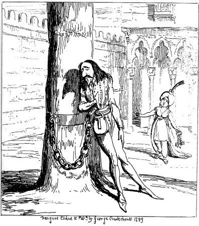 Lord Bateman chained to a tree, while Sophia approaches