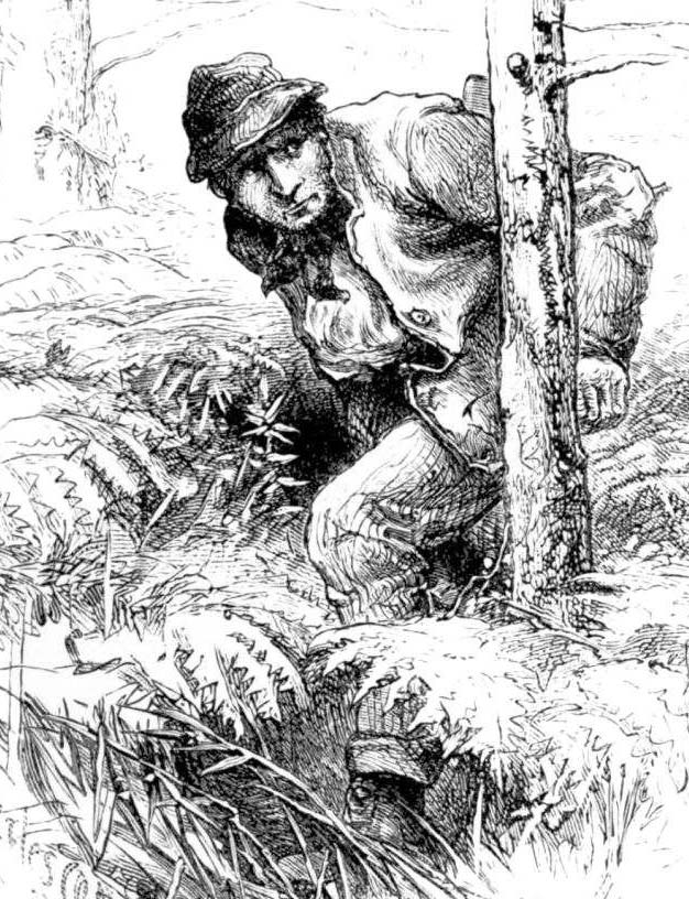 A poacher creeps through the woods