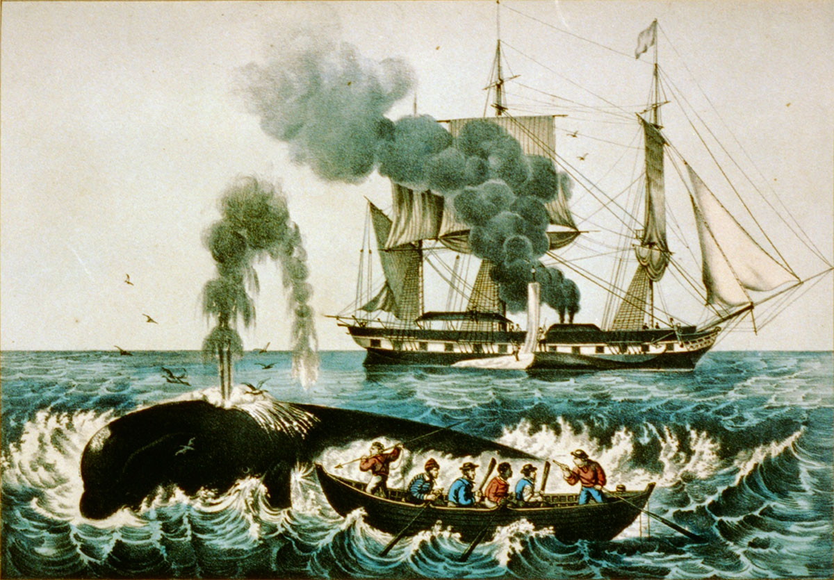 Currier & Ives engraving of whalers pursuing a whale